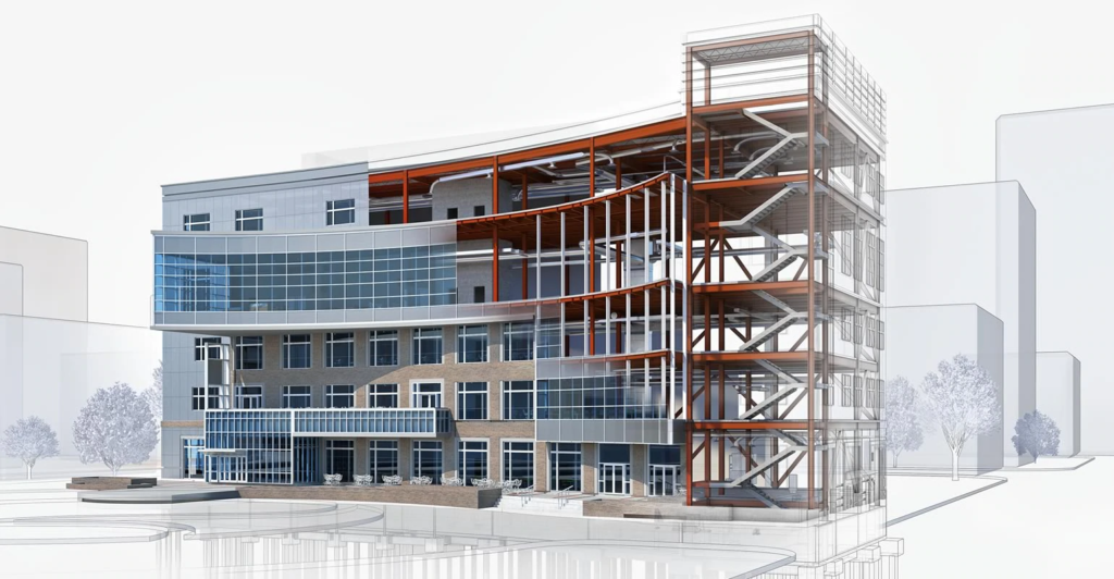 A building modeled in Revit with a section showing structural steel